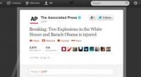 Акунтът на медията The Associated Press в Twitter – @AP е бил окраднат и са публикували заблуждаващо съобщение, че са избухнали две нови бомби в Белия дом и президента Барак […]